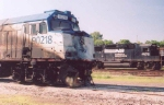AMTK 90218 damaged, sitting in Jackson Yard.